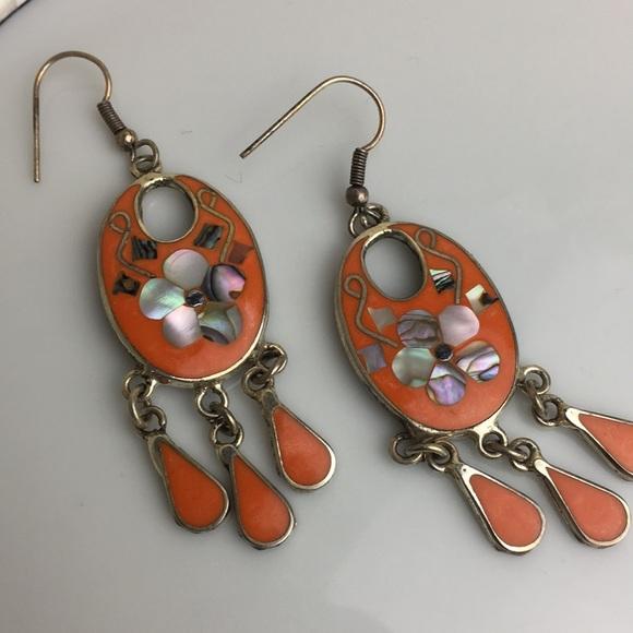 c152704f4 Alpaca Mexico orange enamel abalone inlay earrings.  M_5b75e23dd8a2c71f6205bfa0